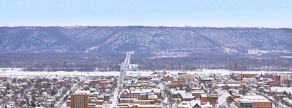 Snow covers Winona, MN